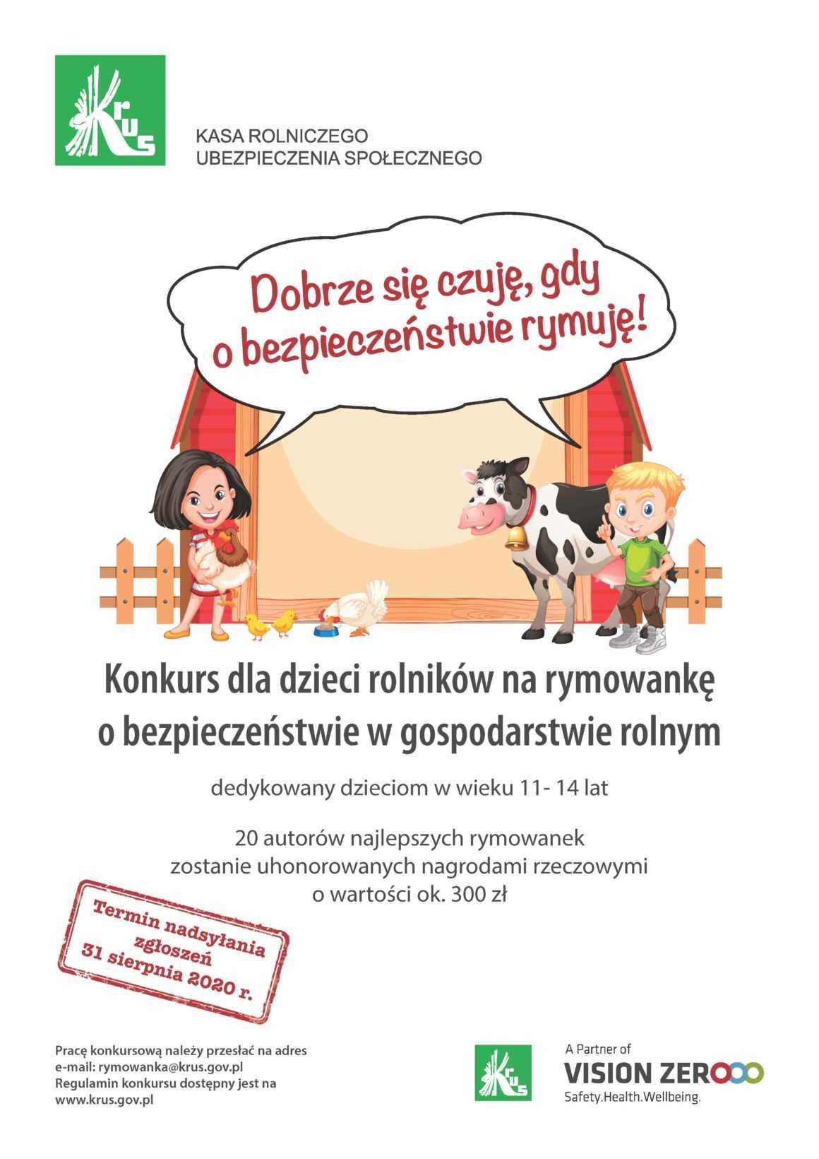 KRUS: konkurs dla dzieci na rymowankę o bezpieczeństwie w rolnictwie