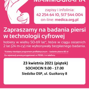 23 kwietnia przy budynku OSP Sochocin czekać będzie mammobus