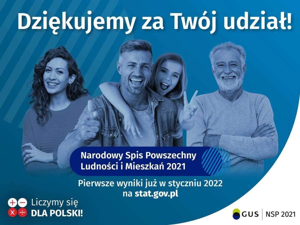 Podziękowania Gminnego Komisarza Spisowego Jerzego Ryzińskiego za udział w Narodowym Spisie Powszechnym 2021